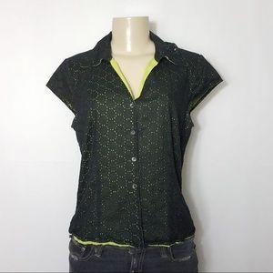 SARAH SPENCER Black Green Button Up Shirt 14 Large
